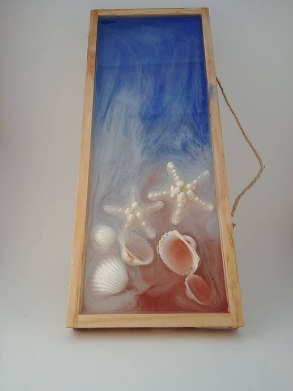 Resin And Wood Ocean Wall Art Seashell Wall Decor Mermaid Etsy
