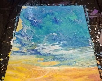 Beauty and the beach. Abstract fluid art with sand from the the Santa Monica beach in California, home office decor 16x20