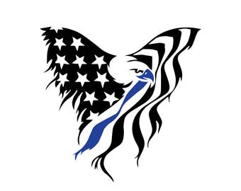 American flag eagle file, unique digital download, svg, dxf, eps, ai, png, patriotic download, proud american, thin blue line, police