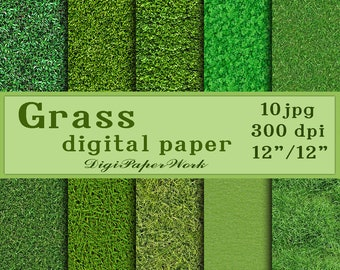 Grass digital paper Grass digital background Grass Texture Digital paper pack green grass paper