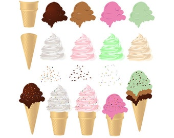 Ice Cream Clip art Ice Cream Cones Clipart Make Your Own Ice Cream Digital Scrapbooking Elements - Personal and Commercial Use