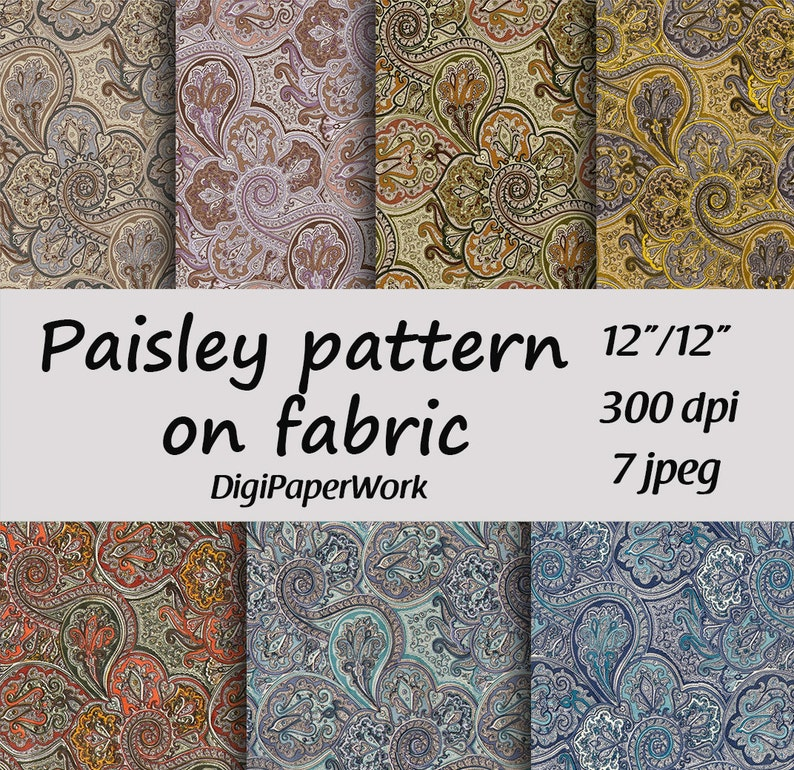 Paisley digital paper fabric Paisley background Instant download for  personal and commercial use