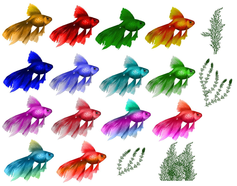 Fisch-Clipart-Digital-Algen ClipArt Scrapbooking Meer Elemente   Etsy