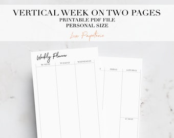Vertical Weekly Planner Inserts, Personal Planner Inserts, Week On Two Pages, Printable Planner, WO2P, Personal Planner Pages