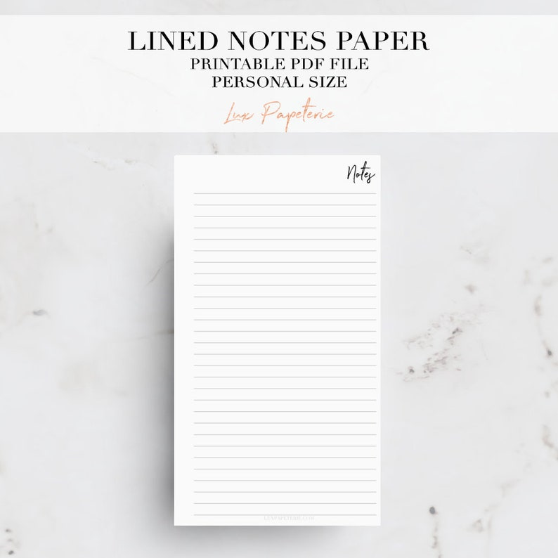 Lined Note Pages, Personal Planner Inserts, Notes Planner Inserts,  Printable Planner, Printable Notepad, Personal Planner Pages
