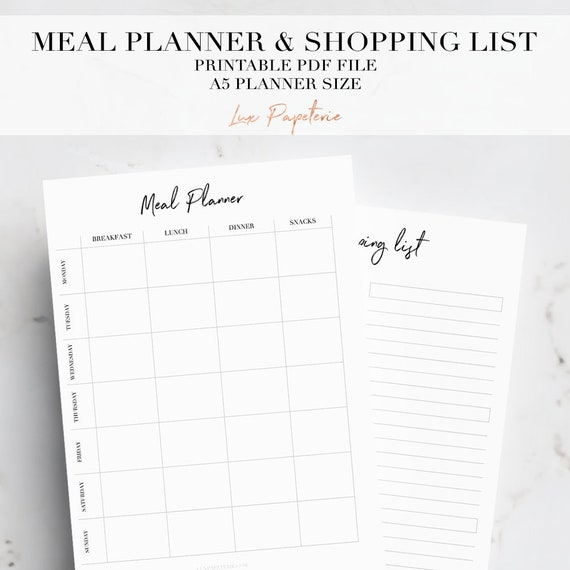 meal planner printable a5 printable planner inserts shopping etsy