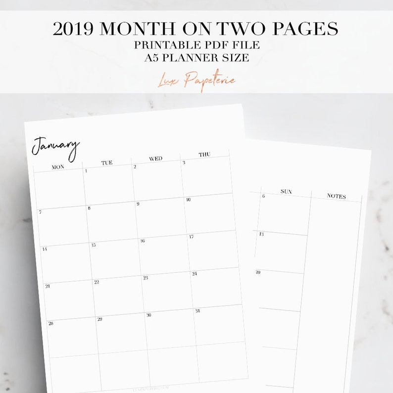 2019 A5 Monthly Planner, Month On Two Pages, Printable Planner Pages, A5  Planner Inserts, Monthly Planner Inserts, 2019 Planner