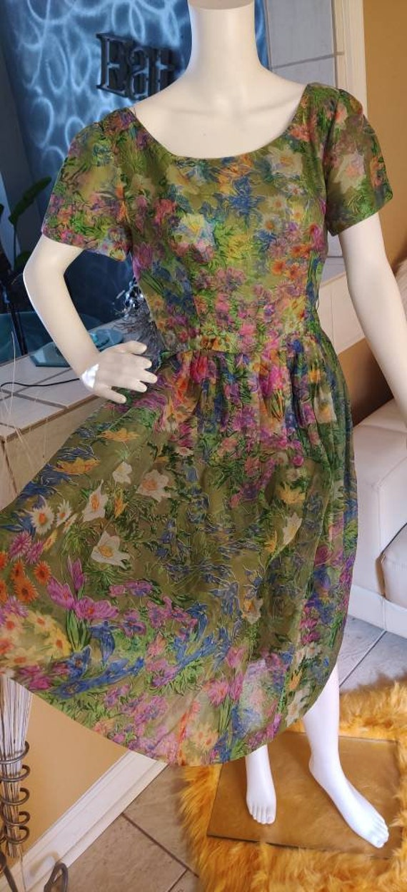 Vintage 1950s Suzy Perette Floral full dress