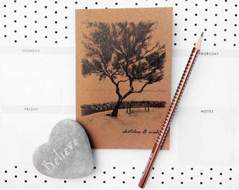 A6 Notebook and HB Pencil-Plain Paged notebook- illustrated front design- sketchbook- doodlebook-ideas notepad-great gift idea