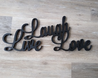 Live Laugh Love Wooden Sign Etsy