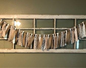 Lace and Burlap Fabric Scrap Banner