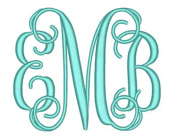 SALE 50% 4 Size Vine monogram 3 letters monogram Font BX fonts Embroidery Fonts, Machine Embroidery Designs