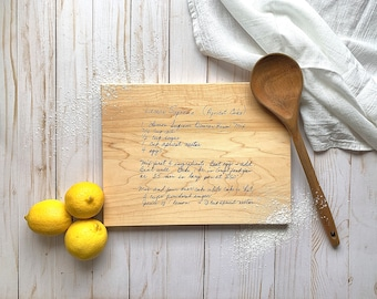Handwritten Recipe Cutting Board Engraved Wood Cutting Board | Recipe Card Personalized Charcuterie and Serving Tray