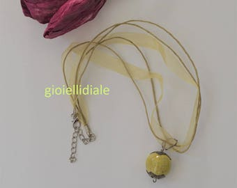 Ceramic necklace, raku necklace, green necklace, necklace with pendant, green bead, raku ceramic pendant, raku beads, Mother's day