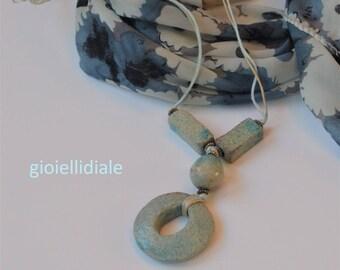 Tourquoise necklace, raku necklace, ceramic necklace, boho necklace, necklace with pendant, light blue necklace, Mother's Day, raku jewelry