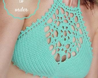 Crop top crochet, crochet bikini top, crochet bikini, cotton top, cotton bikini, crochet top, crochet swim suit, lace top, festival clothing
