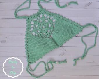 Crop top crochet, crochet bikini top, crochet bikini, cotton top, cotton bikini, crochet top, crochet swim suit, green top, lace top