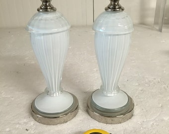 Two Small table lamp in white and gold murano glass