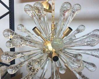 chandelier sputnik brushed gold murano glass