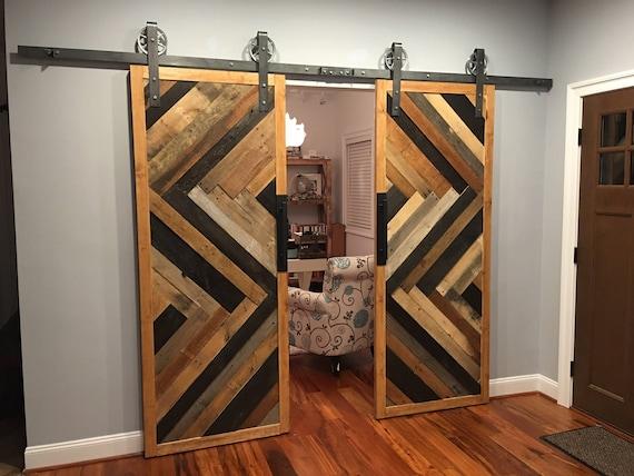 Custom Sliding Barn Door Reclaimed Herringbone Pattern Etsy
