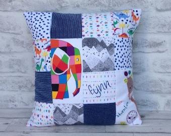 patchwork keepsake cushion, patchwork cushion, treasured keepsake, keepsake cushion, memory patchwork cushion, baby grow cushion, memories