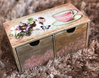 Handmade Decoupage Wooden Tea Box,wooden compartment box,Tea box,Tea storage box,Bespoke tea boxes,Cooper tea box,Tea bag box,Tea bag holder