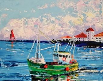 Old irish boat; Original seascape oil painting on canvas