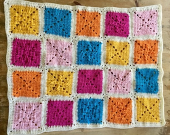 Crocheted Bright Baby Lap Blanket