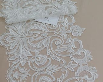 Ivory Lace Trimming by the yard, French Lace, Alencon Lace, Bridal Gown lace, Wedding Lace, White Lace, Veil lace, Garter lace EEV2104