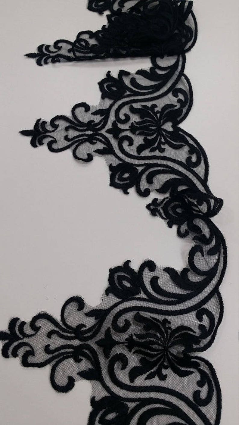Wedding Lace Garter lace French Alencon Lace Lingerie Lace yard FL47912 Bridal gown lace Evening dress lace Black lace Trimming