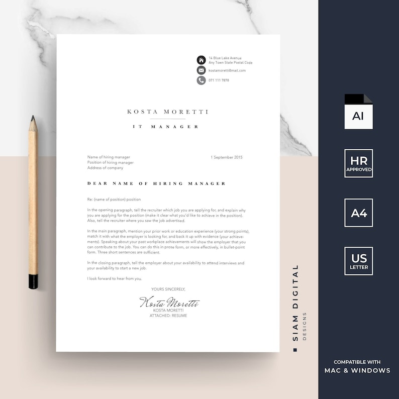 Résumé and cover letter template pack | Modern design | Professional layout  | For Adobe Illustrator | Instant download | Kosta Moretti