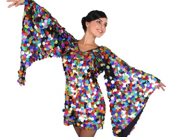Diva Sequin Dress Show Queen Cabaret Trumpet Sleeves Wing Outfit Drag Queen Costume Custom-Made