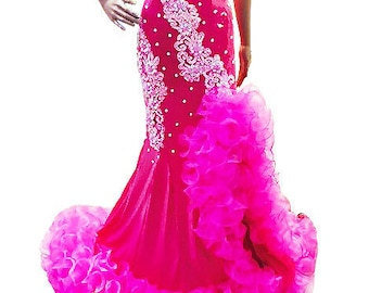 Cabaret Show Dress Robe Diva Sequin Organza Ruffle Boa Drag Queen Outfit Custom-Made