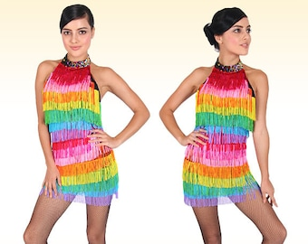 Fringe Dress - Latin Rainbow -  Latin dance dress, Latin dress, Latin fringe dress, Latin dancewear