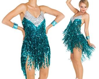 eee3da06a Latin Salsa Dress Turquesa Ballroom Dancesport Tassel Outfit Sequin Fringe Costume  Custom-Made