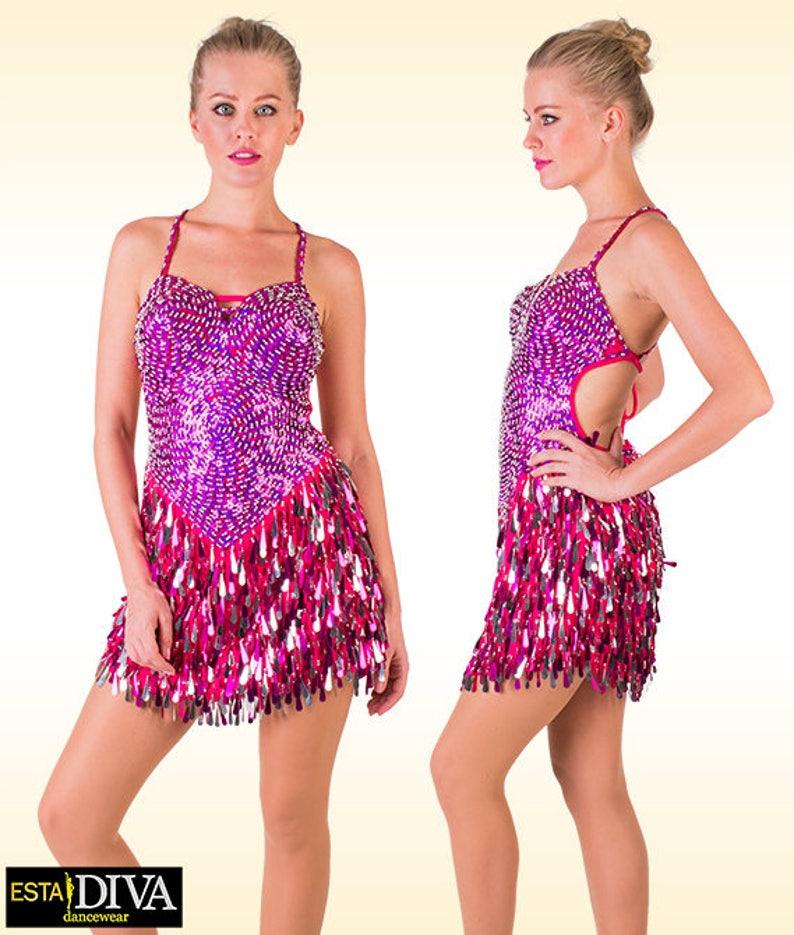 a6fef809 Latin Sequin Dress Abito Ballo Fucsia Latin dress Latin | Etsy