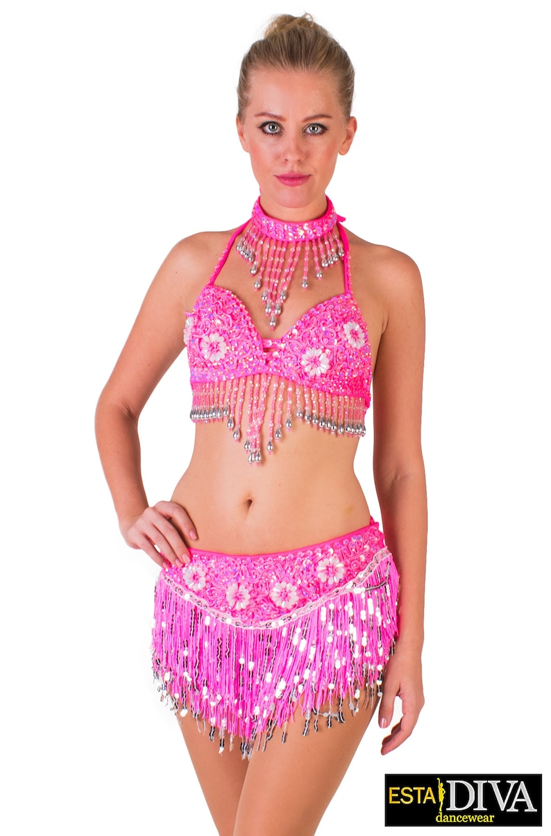 5f740ae7d13 Latin Two-Piece Franja Fucsia Dance Outfit Salsa Costume | Etsy