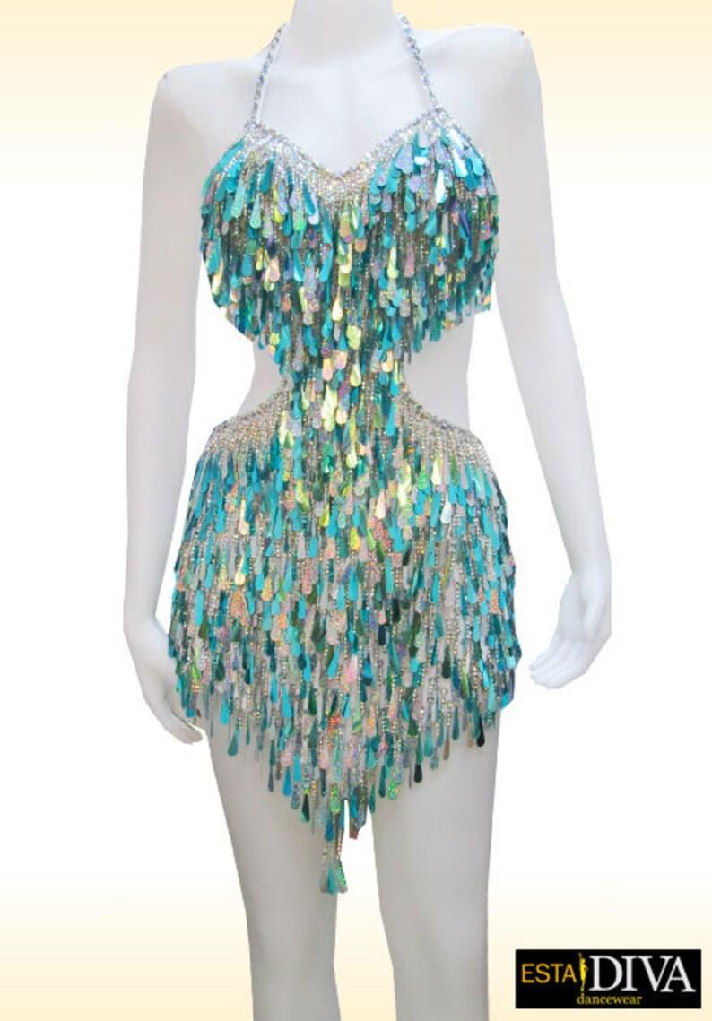 2b023587 Latin Dress Pailleté Goutte Latin Dance Dress Latin Drop | Etsy