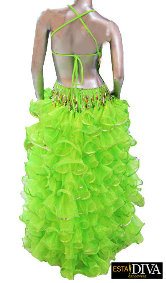 Da NeeNa RS02 Vegas Showgirl Dance Organza Cabaret Drag Queen Ruffle Skirt XS-XL