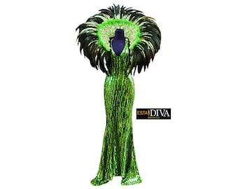 Diva Sequin Dress Green Calana Drag Queen Cabaret