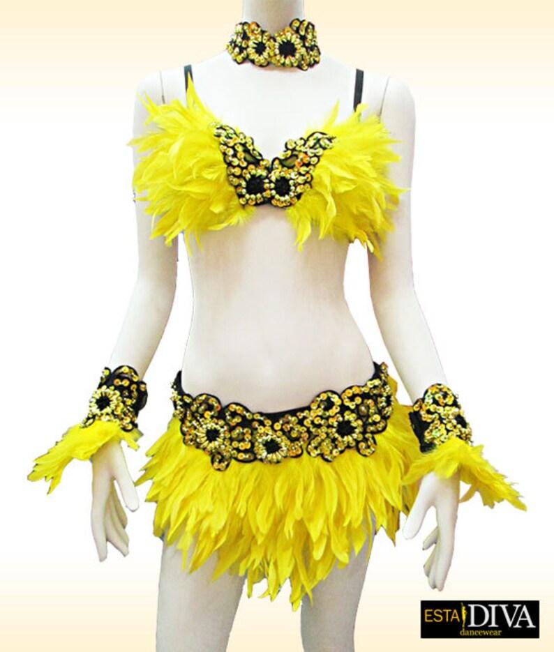 2177e8a8c Feather Dress Samba Plumas Showgirl Dress Vegas Dress | Etsy