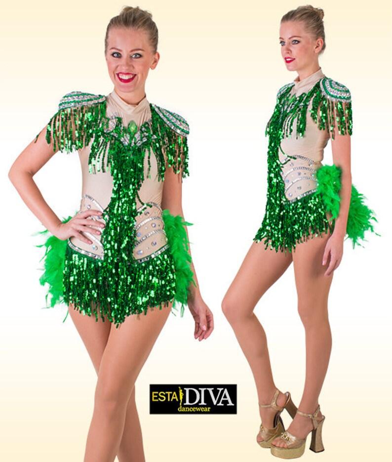 bafaf6d8c3039 Showgirl Dress Vestido Vegas Sequin Fringe Dress Feather | Etsy