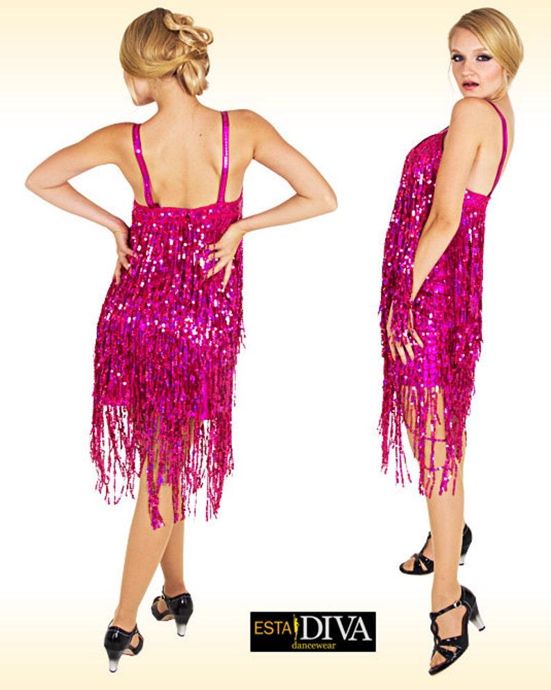6caf62a6 Sequin Fringe Dress Traje Franja Salsa Latin dress Sequin | Etsy