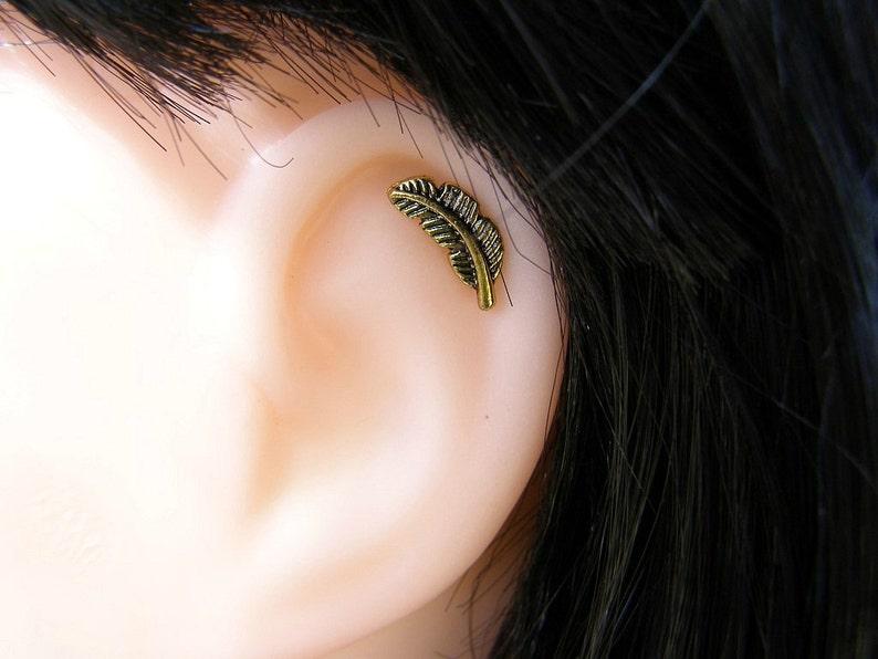 761eaa0d1f866 Gold Feather 16ga Stud , Helix piercing , Cartilage Earring , Helix Earring  , Single