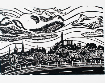 Edinburgh Skyline (Original Linocut Print)