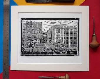 "Duncan of Jordanstone College of Art and Design. 10"" x12"" linocut print by Pamela Scott. DJCAD. Dundee. Art College. Dundee University."