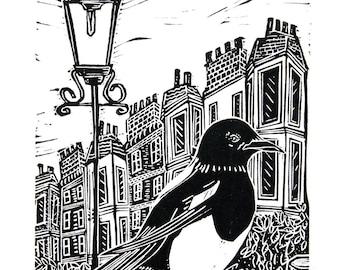 Magpie (Original Linocut Print)