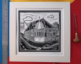 "Simpsons Golf Shop, Carnoustie. 10"" x 10"" linocut print by Pamela Scott. Golf. Carnoustie. Angus. Second oldest Golf Shop in the World."