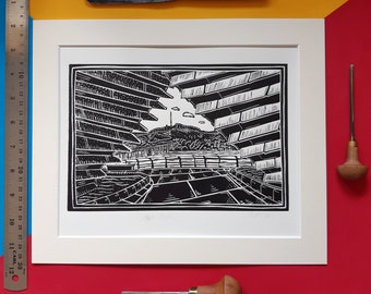 """V&A Arch. 10"""" x 12"""" Linocut Print by Pamela Scott. Archway. Architecture. River Tay. Dundee. Design Museum. Dundee print. Dundee gift."""
