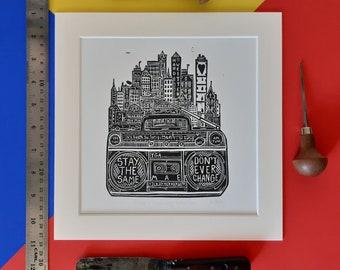 "Mae by The Gaslight Anthem. 10"" x 10 linocut print by Pamela Scott. TGA. Handwritten. Brian Fallon. Radio"